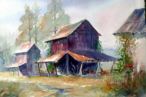 Afternoon Barns in Eastern NC Watercolor Print