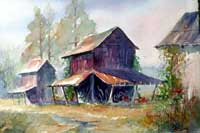 Afternoon Rural Barn Watercolor and Print