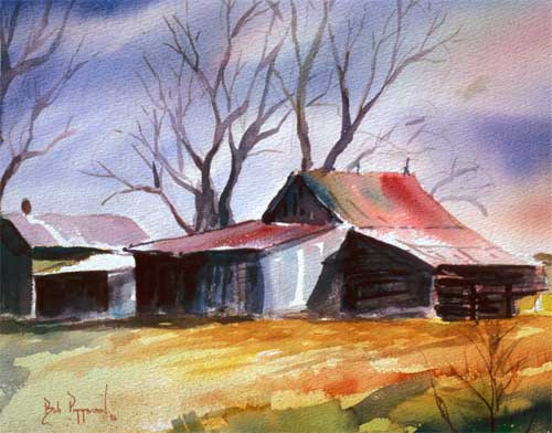 Barn Shadows Watercolor Art Prints