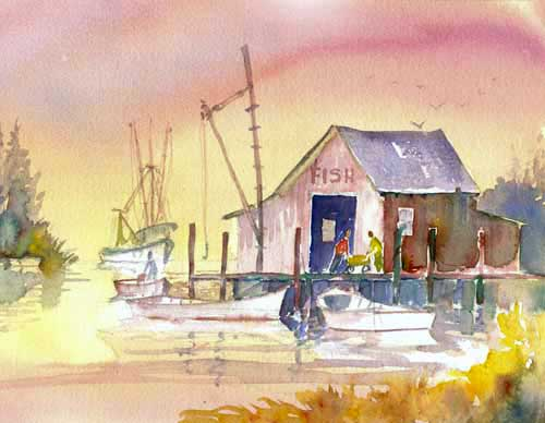 Fish House Reflections - Watercolor - Bob Pittman Art
