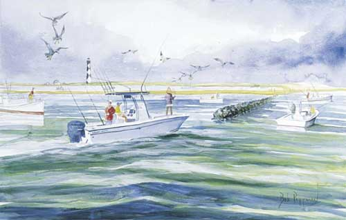 Grady White Boat Cape Lookout Lighthouse Sport Fishing print Bob Pittman Art - Painting, Watercolor, Oil, acrylic, Eastern NC, North Carolina, rural landscapes, Barns, tobacco, Fine Art Prints.