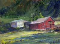 Mountain Barns - oil on canvas - PRints and Giclee