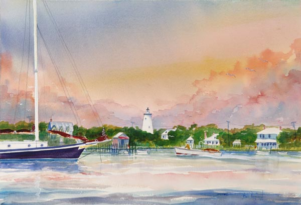 Ocracoke Sunset print Bob Pittman Art - Painting, Watercolor, Oil, acrylic, Eastern NC, North Carolina, rural landscapes< Oriental Sailboats