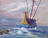 Shrimp boat oil painting - limited edition prints