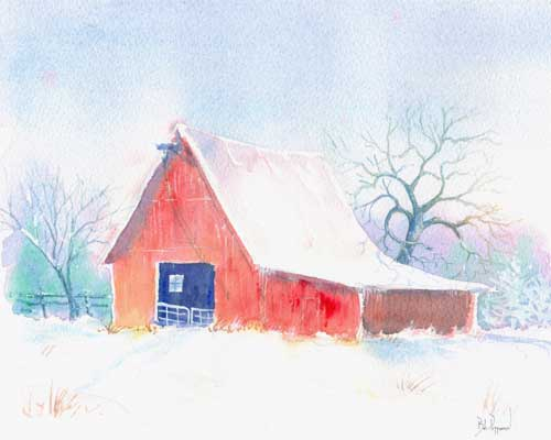 Red Barn in Snow - Barns in Eastern North Carolina - Watercolor