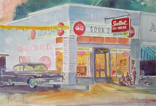 50s diner Shady's Kinston NC Bob Pittman Art - Painting, Watercolor, Oil, acrylic, Eastern NC, North Carolina, rural landscapes, Barns, tobacco, Fine Art Prints.