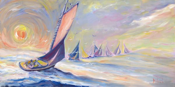 Sunset Sailing - Oil on canvas