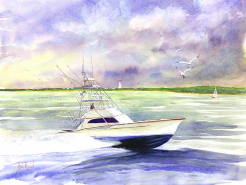 Grady White Boats The Sport Fisher Watercolor and Limited edition prints