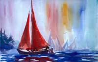 Red Sailboat Painting